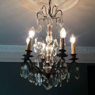 French Antique Chandelier. 6 Light Bronze, Glass & Crystal Pendalogue. Beautiful