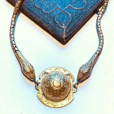 Antique Gold Deco SNAKE Necklace Double head Serpent gold tone egyptian revival