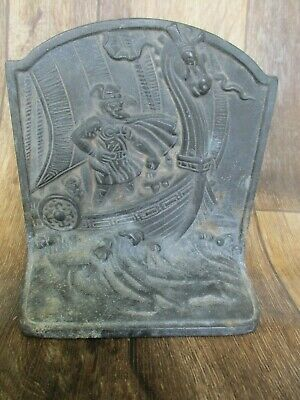 VTG VIKING SHIP PLATED CAST IRON BOOK END/DOORSTOP 1920's Antique (JUST ONE)