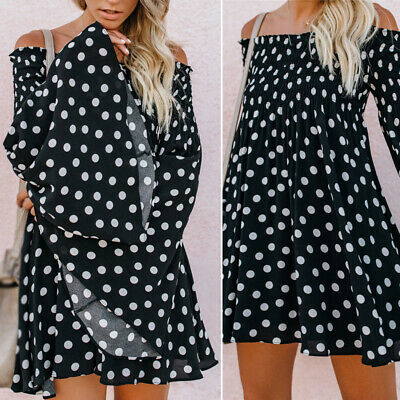 Women Dress Ladies Beach Fashion Dress Party Flare Casual Off Shoulder