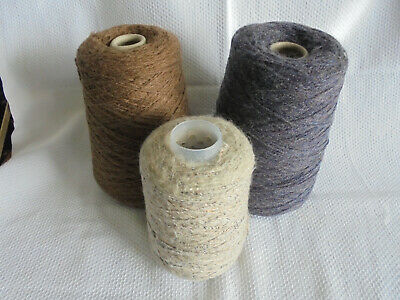 3 Cones of 4ply Wool Yarn 850gr Cream Lurex, Brown Manx Loughton & Purple Marl