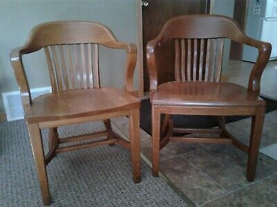 Vintage WOOD BANKER CHAIRS Set of 2 - antique office wooden arm lawyer desk oak