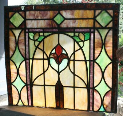 "Antique Stained Glass Window. SLAG GLASS Leaded 26""x24"" Beautiful Colors!"