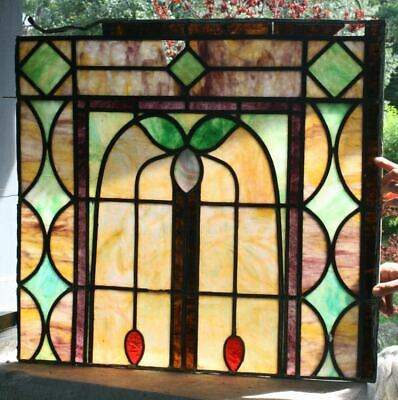 "Antique Stained Glass Window. SLAG GLASS Leaded 25""x24"" Beautiful Colors!"