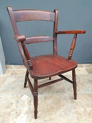 Antique Victorian pine / kitchen dining carver / fireside chair