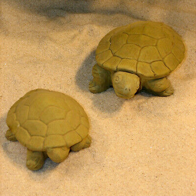 Cast Stone Cement Concrete Turtle Pair Outdoor Garden Statue  Set of 2