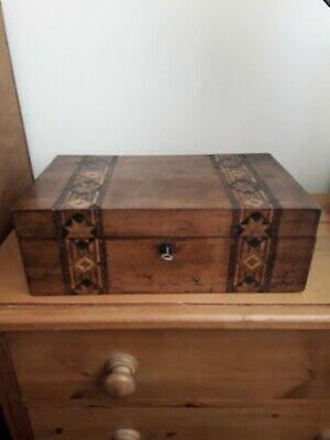 Antique Mahogany Writing Slope with Tunbridge Ware, Part fitted interior, & Key