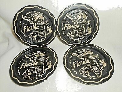 Four Vintage Florida State Map Souvenir Metal Coasters 1960s Black and Gold