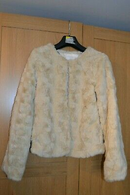 Girls TU Cream Faux Fur Jacket Age 11-12 with Pockets - Worn Once