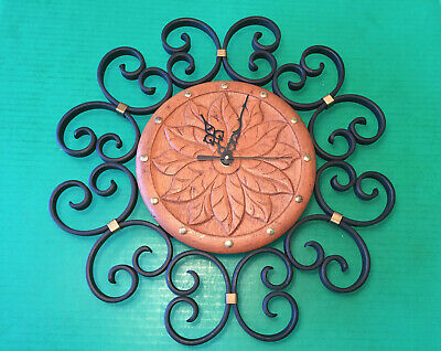 Vintage Carved Danish Oak Wrought Iron Wall Clock NEW QUARTZ MOVEMENT Denmark