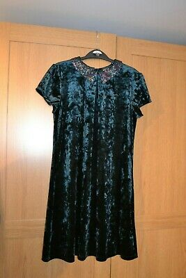 Girls Next Dress Age 12 in Crushed Velvet Green Sequin Collar worn Once