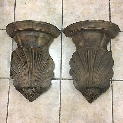 Pair Hand Carved Brown Stained Wooden Wall Sconce Corbel Scalloped Corinthian