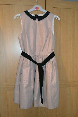 Girls M&S Autograph Pink Mix Party Dress with Black Collar and belt Age 12-13