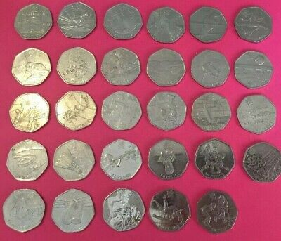 FULL SET OF  OLYMPIC SPORTS COLLECTION 50p 29 x2011 CIRCULATED FIFTY PENCE COINS