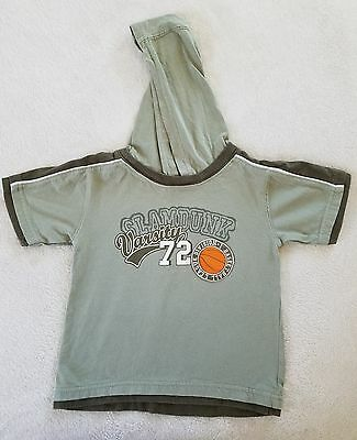 Boy's Novelty Hooded T-Shirt~ Size 3T~  Light Olive Color ~  Faded Glory