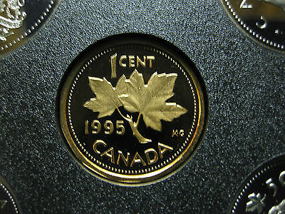 1995 UNC Frosted Proof Canadian Penny One Cent - 1 cent coin