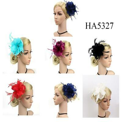 Handmade Feather Hair Fascinator Beaded Hair Clip Wedding Royal Ascot