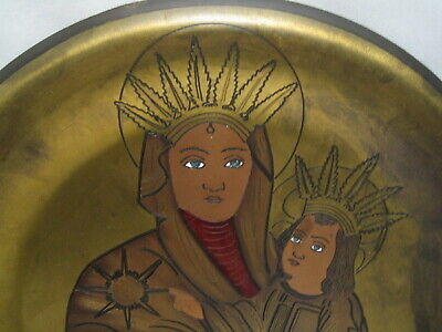 Vintage Tin Virgin Mary & Jesus Circular Icon Plate Feathers And Halo Signed