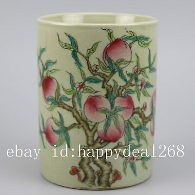 Chinese old hand-carved porcelain famille rose glaze peach pattern brush pot c01