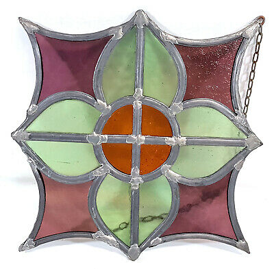 Leaded Stained Glass Window Panel Original Vintage Antique 028EA