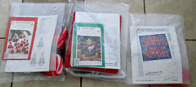 Lot 3 Plastic Canvas Kits Christmas Themes Santa's Sleigh Ornaments New Year