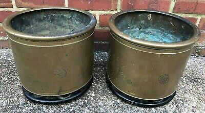 Antique Pair of Asian Brass Planter Censor Brazier Hibachi  on Wood Stand Signed