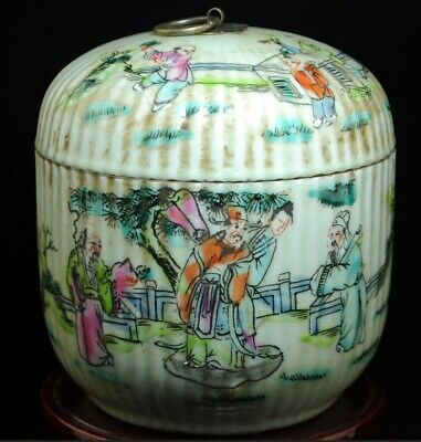 China Old famille-rose porcelain hand painted ancients teapot /tongzhi mark b02