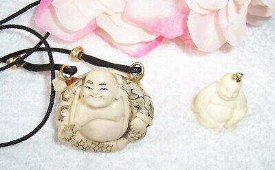 """VINTAGE ASIAN CHINESE """"HAPPY BUDDHA"""" PENDANTS CHARMS Superb Detail HAND CARVED"""
