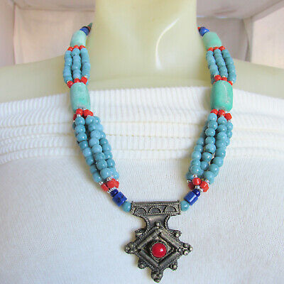 Vintage Moroccan Tribal Berber Old Silver Amazonite Lapis Lazuli Carnelian Coral