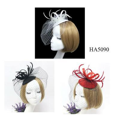 Brand New Feather Hair Fascinator Beaded Hair Two Clips Wedding Royal Ascot