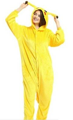Pokemon Pikachu-Adult/Teen Cosplay Button-Up One-Piece-Size Small-Fleece-w/ Hood