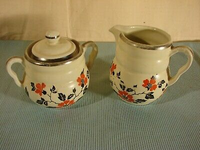 Vintage Hall Red Poppy Pattern Sugar & Creamer