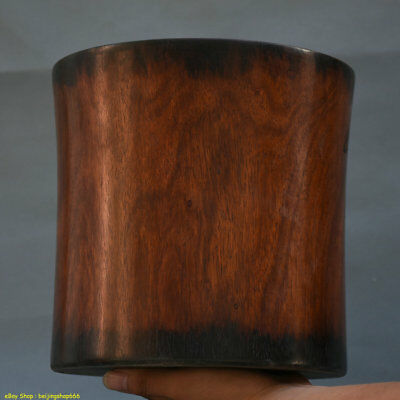 "9"" Old Chinese Huang Hua Li Wood Hand-Carved Glossy Brush Pot Pencil Vase 0S3"