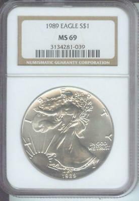 1989 American Silver Eagle ASE S$1 NGC MS69 Premium Quality BEAUTIFUL P.Q.