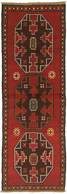 """Hand-knotted Carpet 2'5"""" x 7'4"""" Traditional Vintage Wool Rug"""
