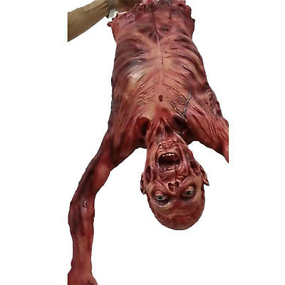 "37"" Animated Halloween Prop Half Body Skinned Scary Hanging Corpse Haunted House"