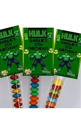 16 x HULK Birthday Party Favour Tube Lolly Bags PARTIES TUBES SUPERHERO GREEN
