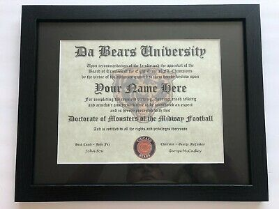 Chicago Bears NFL #1 Fan Certificate Man Cave Diploma Perfect Gift