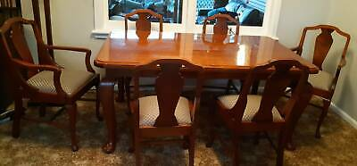 Antique English Soild Table with x6 chairs