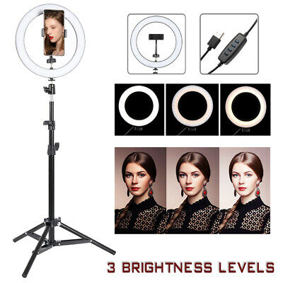"10"" RGB LED Ring Light with Stand Dimmable LED Lighting Set Makeup Youtube Video"