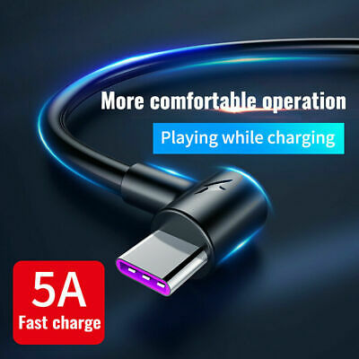 5A Type C 90 Degree Right Angle USB C 3.1 Fast Data Sync Charging Charger Cable