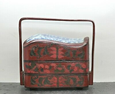Fantastic Antique Chinese Lacquer Tiffin Set w/ A 300 Years Old Porcelain Plaque