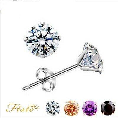 Men Lady Crystal Rhinestone Piercing ear Hole studs Earrings