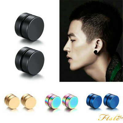 2PC BLACK Metal Magnet Round Stud Earrings No Piercing Men Man Jewellery