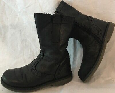 Girls John Lewis Black Leather Boots Size 10 (755ww)