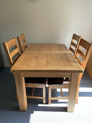 Solid Chunky Oak Extending Dining Table And Chairs