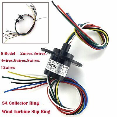 2 3 4 6 8 12 Wires 5A 22mm Dia, 500RPM Collector Ring Wind Turbine Slip Ring NEW