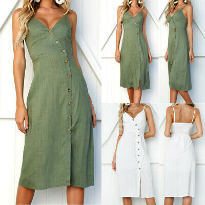 Women Ladies Sexy Solid Buttons V-Neck Casual Off Shoulder Sleeveless Midi Dress