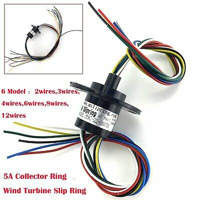 5A 22mm Dia 500RPM Collector Ring Wind Turbine Slip Ring 2 3 4 6 8 12 Wires New