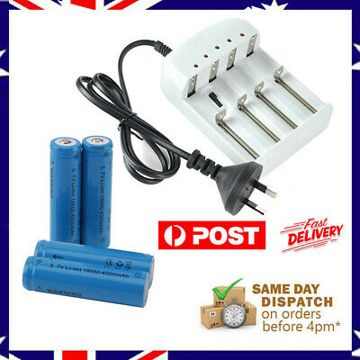 4x18650 4000mAh Li-ion Rechargeable 3.7V Battery+Smart Charger Indicator AU Plug